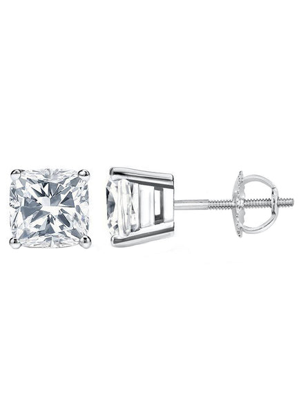 14 Karat Cushion Cut Screw Back Stud Earring 4.00 Carat Total weight.
