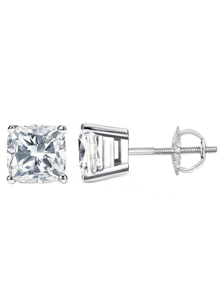 14 Karat or 18 Karat White Gold Cushion Cut Stud Earrings With Screw Post Backing. Choose From 0.50 Carat To 10.00 Carat Total Weight.