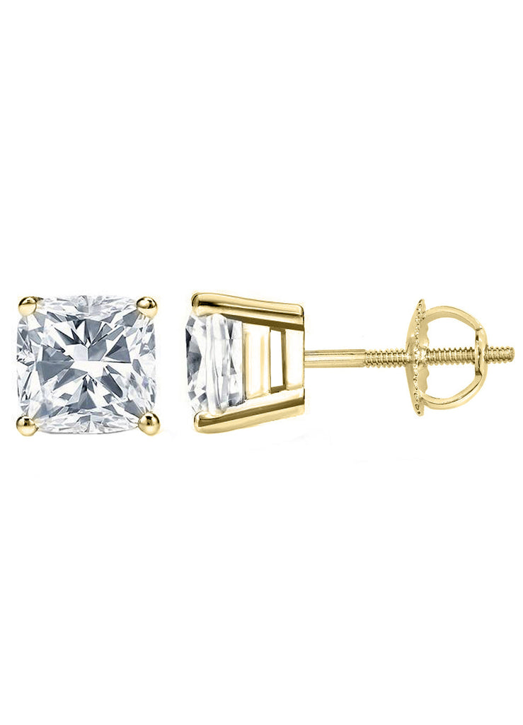 14 Karat or 18 Karat Yellow Gold Cushion Cut Stud Earrings With Screw Post Backing. Choose From 0.50 Carat To 10.00 Carat Total Weight.