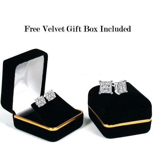 14 Karat White Gold Synthetic Saphire 4-Prong Basket Princess Cut Push Back Stud Earrings. Available From .50 Carat To 4 Carat.