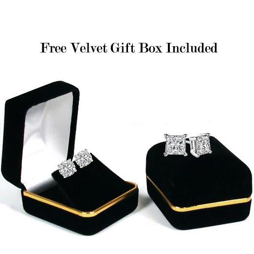 14 Karat or 18 Karat White Gold Cushion Cut Stud Earrings With Plain Post Backing. Choose From 0.50 Carat To 10.00 Carat Total Weight.