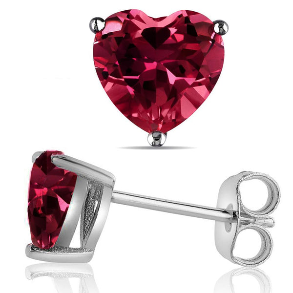14 KARAT WHITE GOLD GARNET HEART. Choose From 0.25 CTW To 10.00 CTW