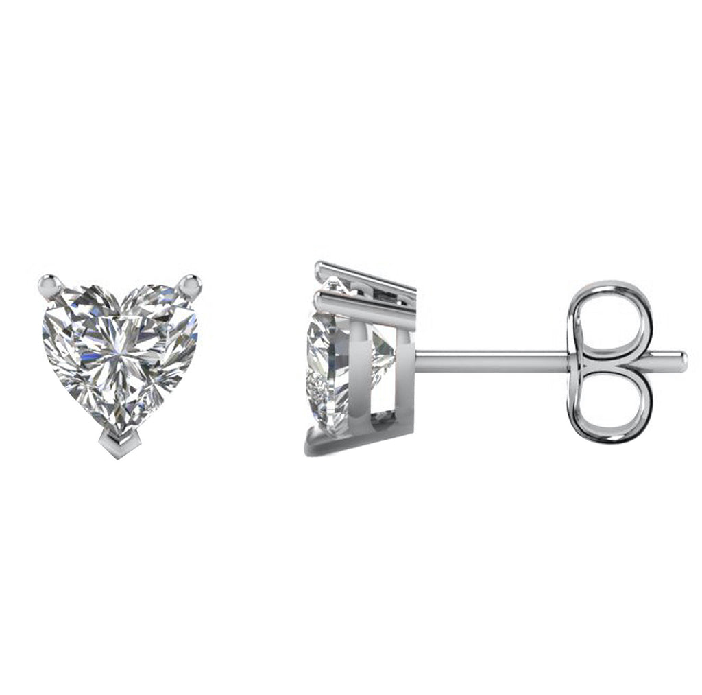 14 Karat White Gold 3-Prong Basket Push Back Heart Stud Earrings.  Available From .25 Carat To 10 Carat.