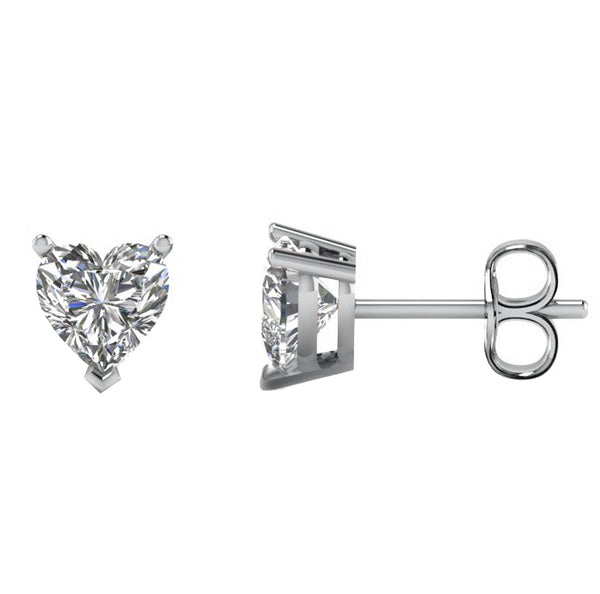 14 Karat Heart Shape Stud Earring 3.00 Carat Total weight.