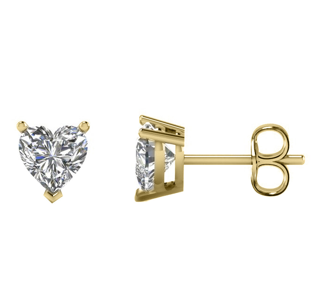 18 Karat Yellow Gold 3-Prong Basket Push Back Heart Stud Earrings.  Available From .25 Carat To 10 Carat.