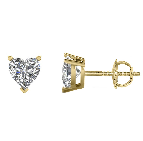 14 Karat or 18 Karat Yellow Gold Heart Stud Earrings With Screw Backing. Choose From 0.50 Carat To 10.00 Carat Total Weight.