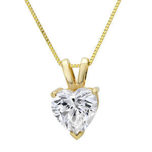 14 Karat Yellow Gold Heart Shape Solitaire Pendant. Choose From 0.25 Carat To 5.00 Carat.