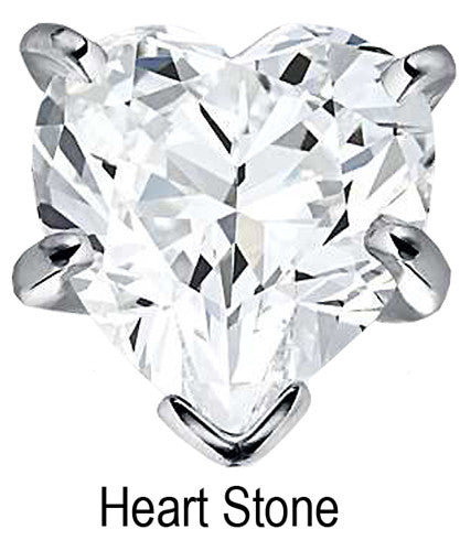 8mm x 8mm Heart Stone Cubic Zirconia Stone -  2.0 Carat Loose Stone