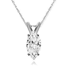 14 Karat White Gold Marquise Shape Solitaire Pendant. Choose From 0.25 Carat To 5.00 Carat.