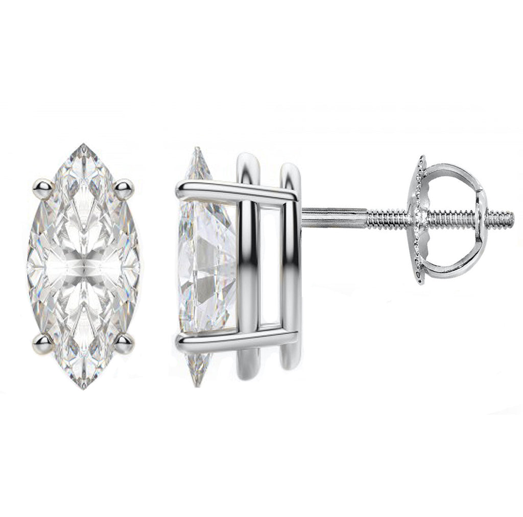 14 Karat or 18 Karat White Gold Marquise Stud Earrings With Screw Backing. Choose From 0.50 Carat To 10.00 Carat Total Weight.