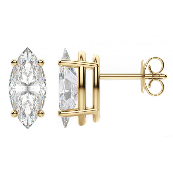 14 Karat or 18 Karat Yellow Gold Marquise Stud Earrings With Plain Post Backing. Choose From 0.50 Carat To 10.00 Carat Total Weight.