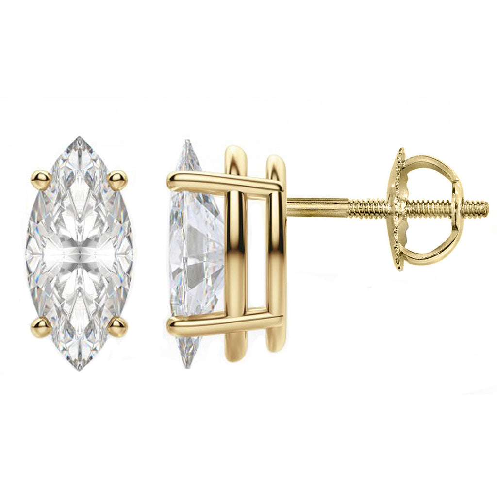 14 Karat or 18 Karat Yellow Gold Marquise Stud Earrings With Screw Post Backing. Choose From 0.50 Carat To 10.00 Carat Total Weight.