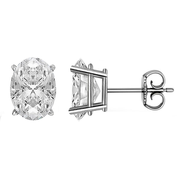 Platinum 4-Prong Basket Push Back Oval Stud Earrings.  Available From .25 Carat To 10 Carat.