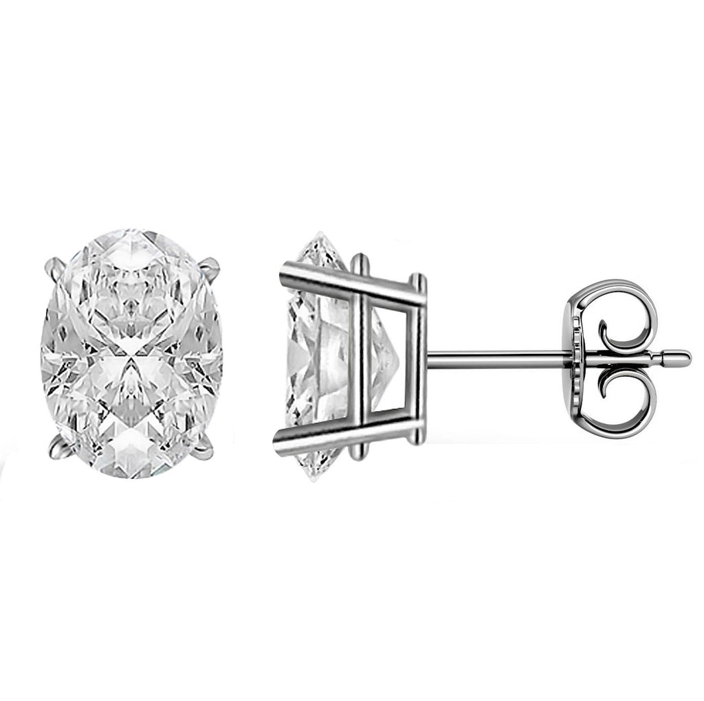 14 Karat White Gold 4-Prong Basket Push Back Oval Stud Earrings.  Available From .25 Carat To 10 Carat.
