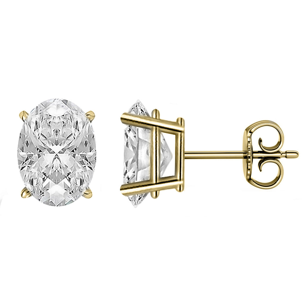 18 Karat Yellow Gold 4-Prong Basket Push Back Oval Stud Earrings.  Available From .25 Carat To 10 Carat.
