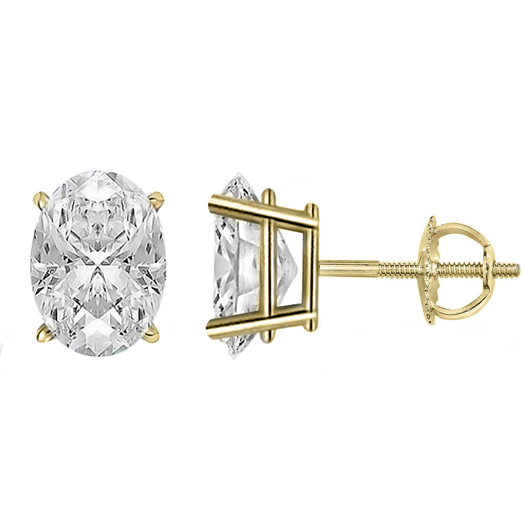 14 Karat or 18 Karat Yellow Gold Oval Stud Earrings With Screw Post Backing. Choose From 0.50 Carat To 10.00 Carat Total Weight.
