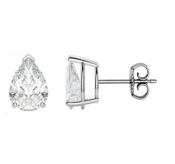 14 Karat or 18 Karat White Gold Pear Shape Stud Earrings With Plain Post Backing. Choose From 0.50 Carat To 10.00 Carat Total Weight.