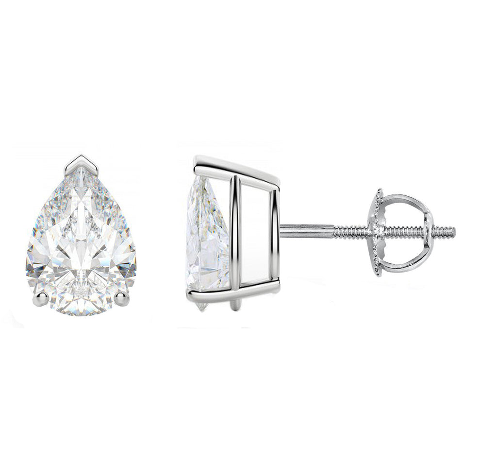 14 Karat or 18 Karat White Gold Pear Shape Stud Earrings With Screw Post Backing. Choose From 0.50 Carat To 10.00 Carat Total Weight.