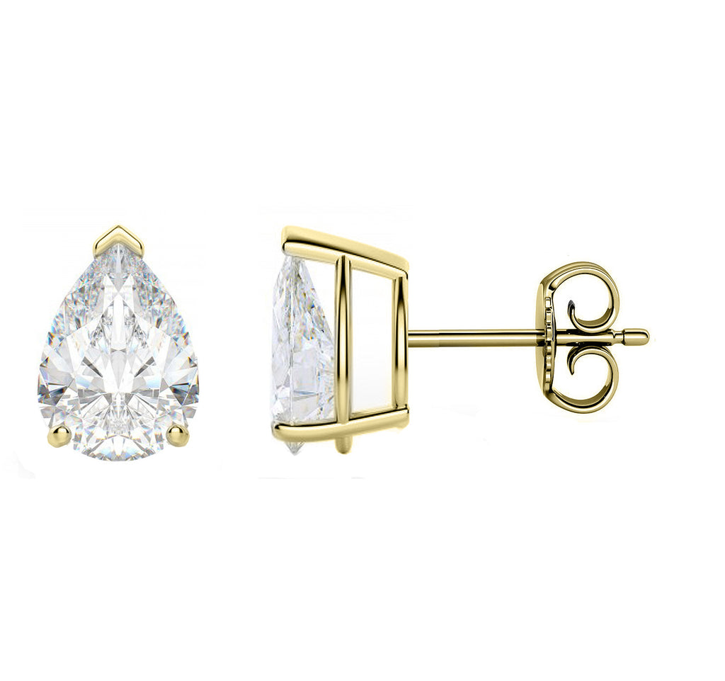 14 Karat or 18 Karat Yellow Gold Pear Shape Stud Earrings With Plain Post Backing. Choose From 0.50 Carat To 10.00 Carat Total Weight.