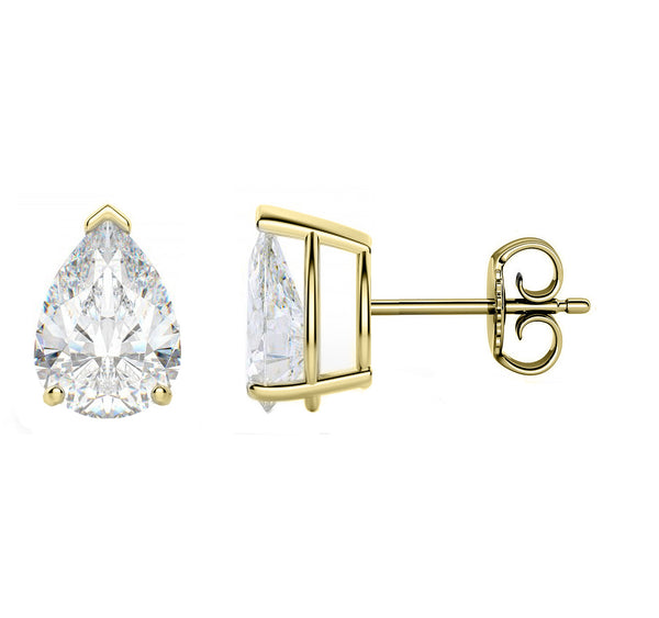 18 Karat Yellow Gold 3-Prong Basket Push Back Tear Drop Stud Earrings.  Available From .25 Carat To 10 Carat.