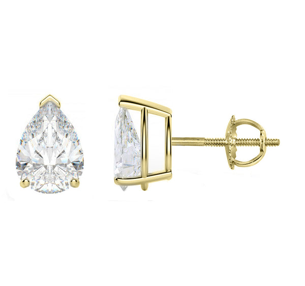 14 Karat Tear Drop Screw Back Stud Earring 10.00 Carat Total weight.