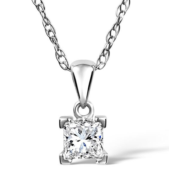 14 Karat White Gold Princess Shape Solitaire Pendant. Choose From 0.25 Carat To 5.00 Carat.