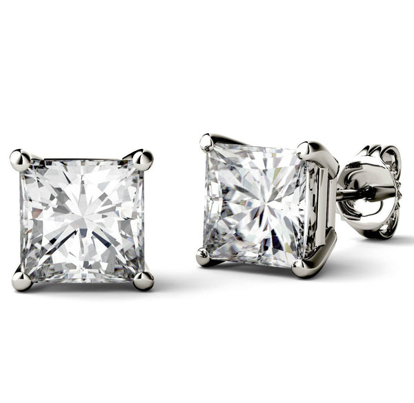 14 Karat or 18 Karat White Gold Princess Cut Stud Earrings With Plain Post Backing. Choose From 0.50 Carat To 10.00 Carat Total Weight.
