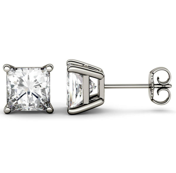 18 Karat White Gold 4-Prong Basket Princess Cut Push Back Stud Earrings. Available From .25 Carat To 10 Carat.