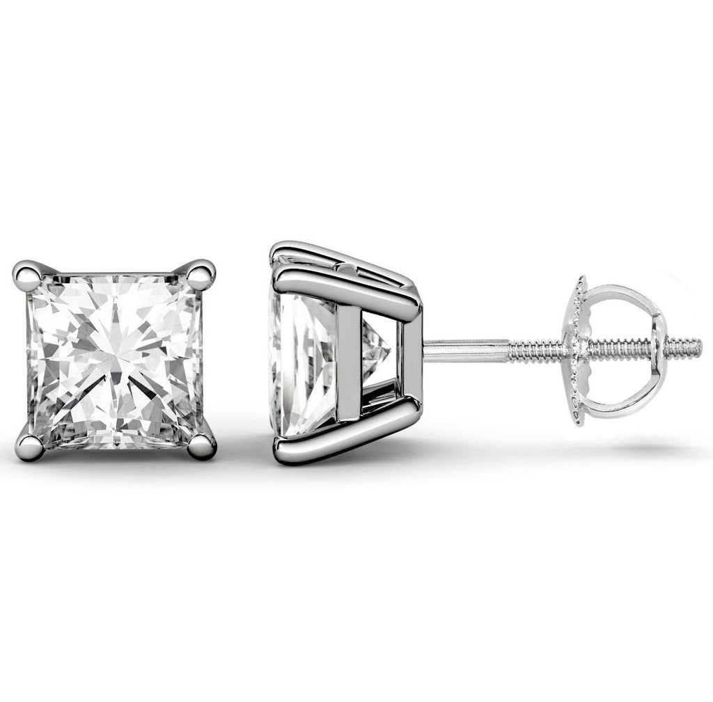 14 Karat Princess Cut Screw Back Stud Earring 6.00 Carat Total weight.