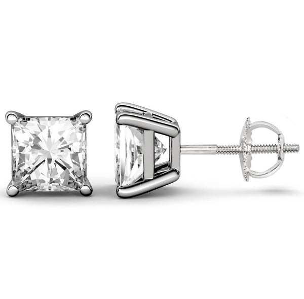 Platinum 4-Prong Basket Princess Cut Stud Earrings With Screw Backing. Available From .25 Carat To 10 Carat.