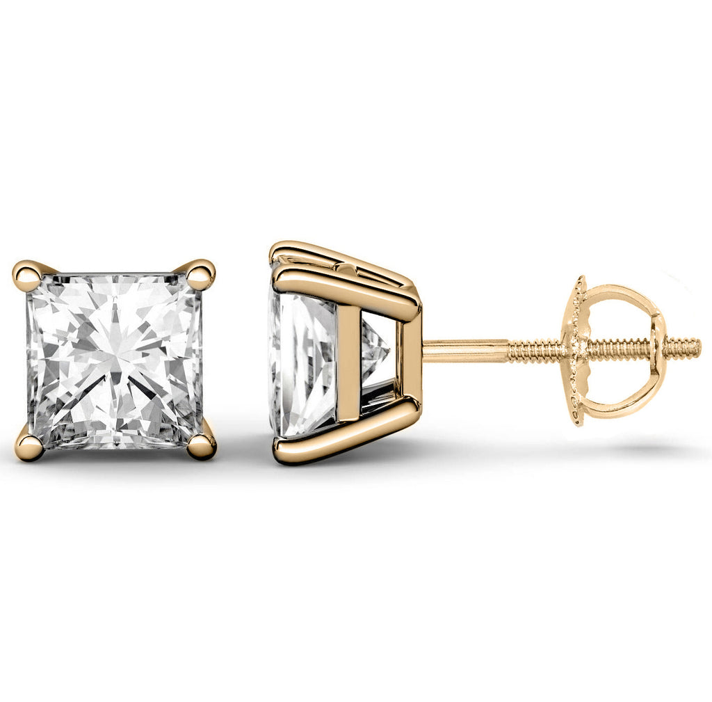 14 Karat or 18 Karat Yellow Gold Princess Cut Stud Earrings With Screw Post Backing. Choose From 0.50 Carat To 10.00 Carat Total Weight.