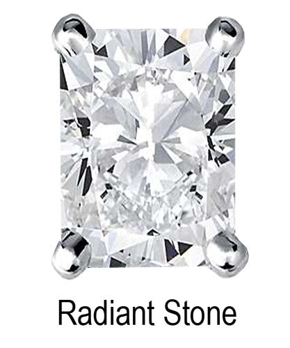 8mm x 6mm Radiant Stone Cubic Zirconia Stone -  1.5 Carat Loose Stone.