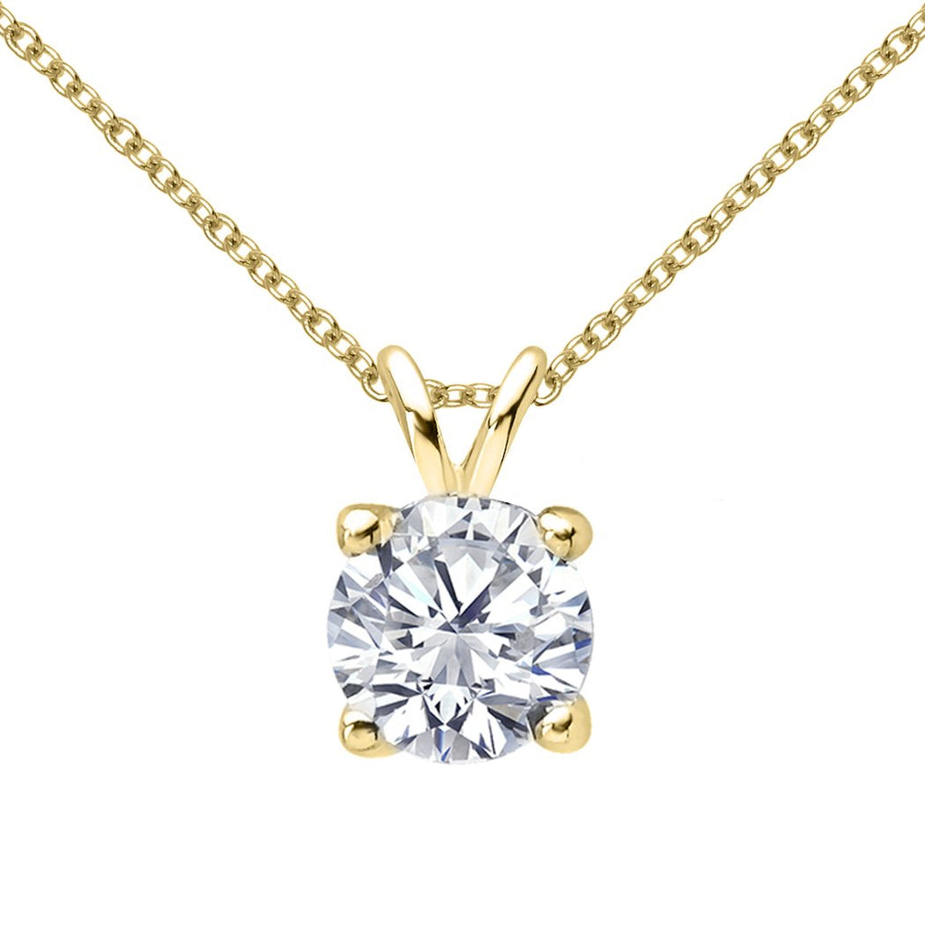 14 KARAT YELLOW GOLD 4-PRONG ROUND PENDANT WITH ROLO CHAIN. BUILD YOUR OWN PENDANT.