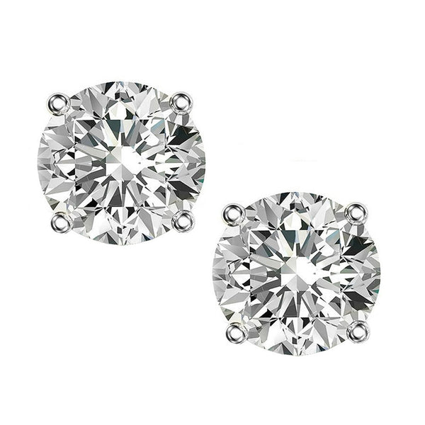 14 KARAT WHITE GOLD 4-PRONG ROUND. Choose From 0.25 CTW To 10.00 CTW