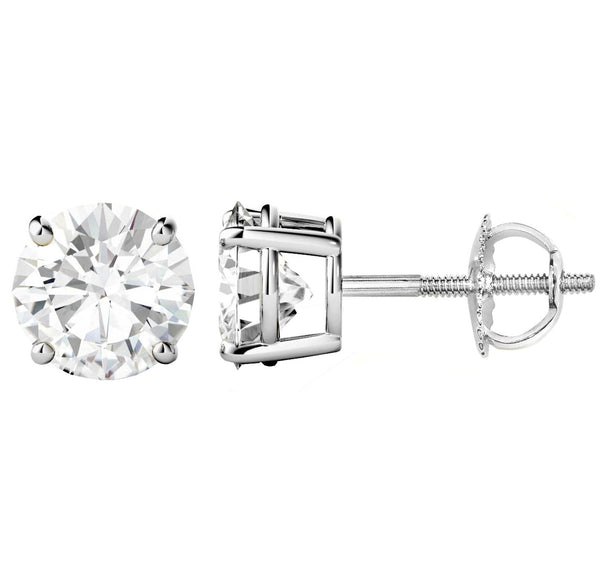 14 Karat White Gold 4-Prong Basket Round Stud Earrings With Screw Backing. Available From .25 Carat To 10 Carat.
