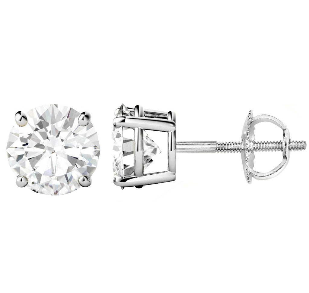 18 Karat White Gold 4-Prong Basket Round Stud Earrings With Screw Backing. Available From .25 Carat To 10 Carat.