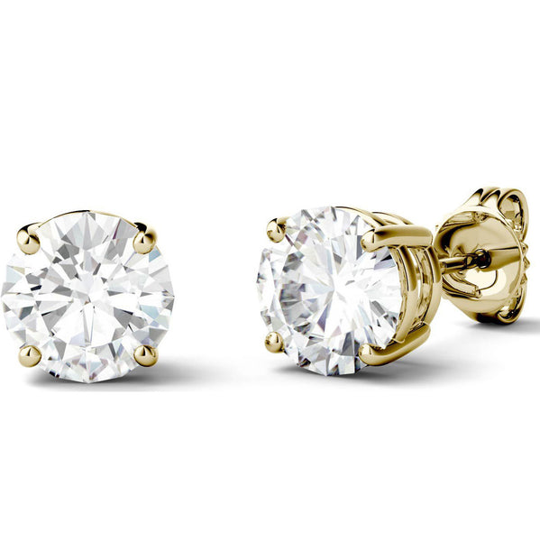 14 Karat or 18 Karat Yellow Gold Round Shape Stud Earrings With Plain Post Backing. Choose From 0.50 Carat To 10.00 Carat Total Weight.