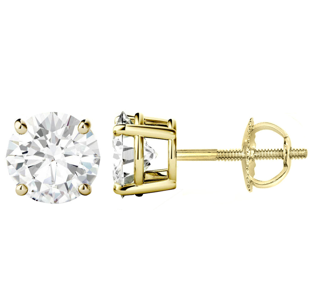 14 Karat or 18 Karat Yellow Gold Round Shape Stud Earrings With Screw Post Backing. Choose From 0.50 Carat To 10.00 Carat Total Weight.