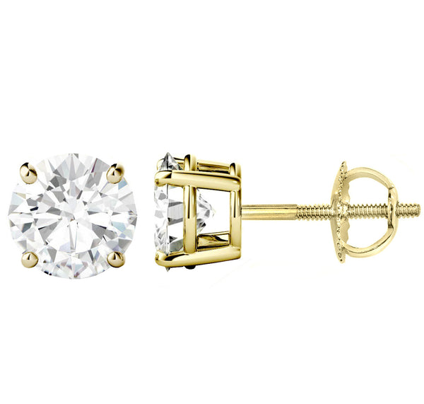 18 Karat Yellow Gold 4-Prong Basket Round Stud Earrings With Screw Backing. Available From .25 Carat To 10 Carat.
