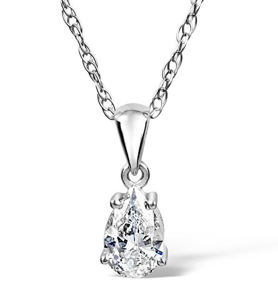 14 Karat White Gold Tear Drop Shape Solitaire Pendant. Choose From 0.25 Carat To 5.00 Carat.