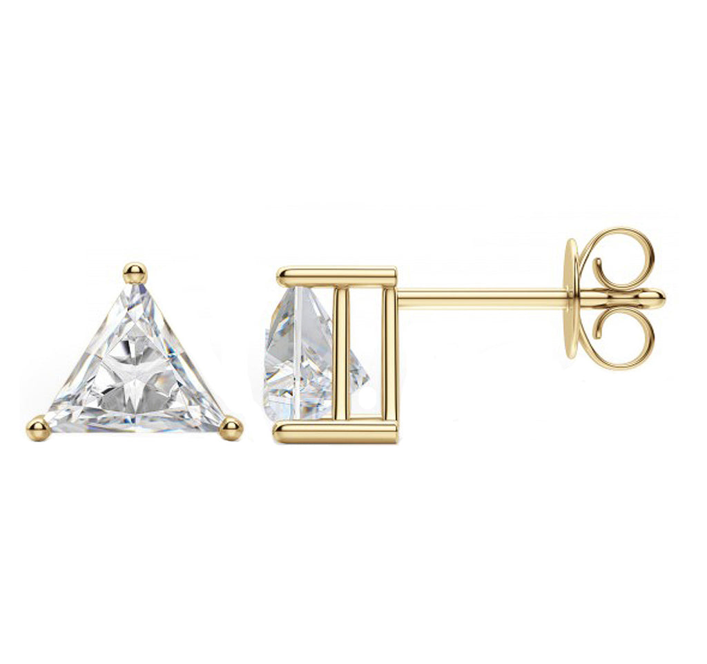 14 Karat or 18 Karat Yellow Gold Trillion Cut Stud Earrings With Plain Post Backing. Choose From 0.50 Carat To 10.00 Carat Total Weight.