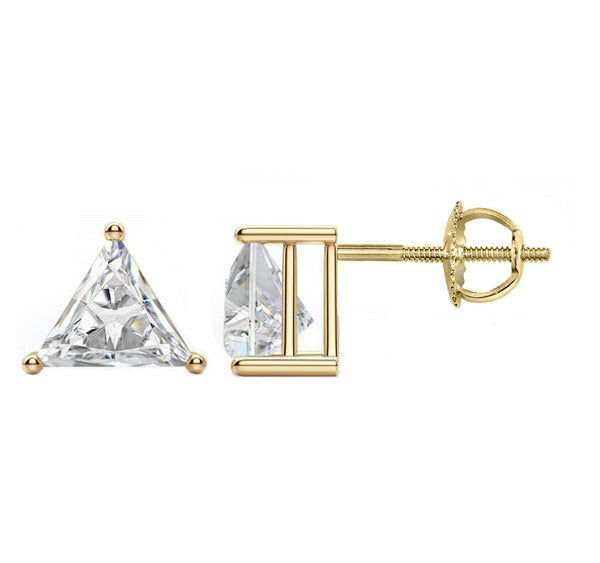 14 Karat or 18 Karat Yellow Gold Trillion Cut Stud Earrings With Screw Post Backing. Choose From 0.50 Carat To 10.00 Carat Total Weight.