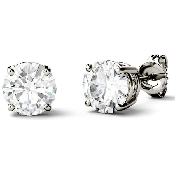14 Karat or 18 Karat White Gold Round Shape Stud Earrings With Plain Post Backing. Choose From 0.50 Carat To 10.00 Carat Total Weight.