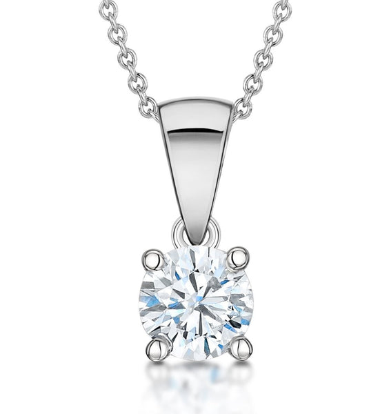 14 Karat White Gold Round Shape Solitaire Pendant. Choose From 0.25 Carat To 5.00 Carat.
