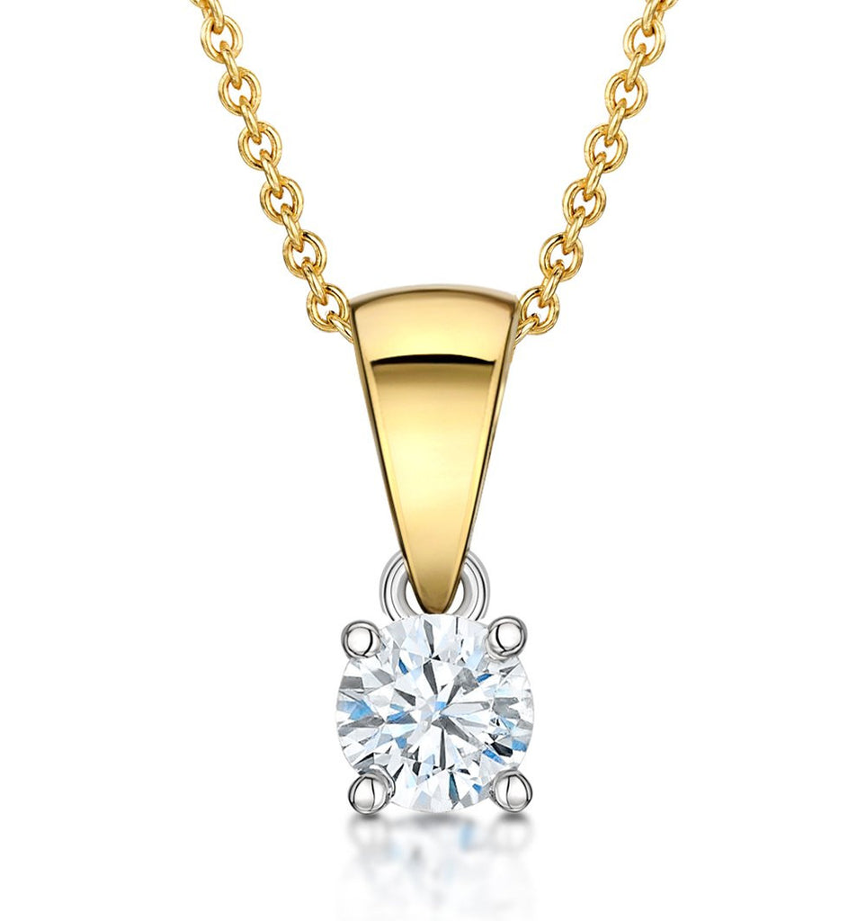 14 Karat Yellow Gold Round Shape Solitaire Pendant. Choose From 0.25 Carat To 5.00 Carat.