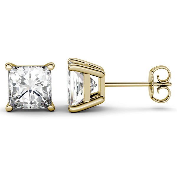 14 Karat Princess Cut Stud Earring 3.00 Carat Total weight.