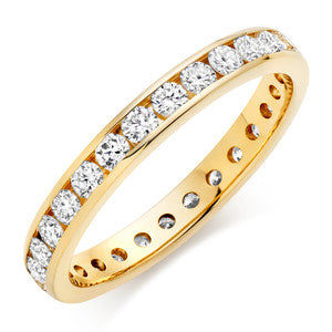 Yellow Gold Eternity Band With Round Channel Set Stones In 1 Carat Total Weight.