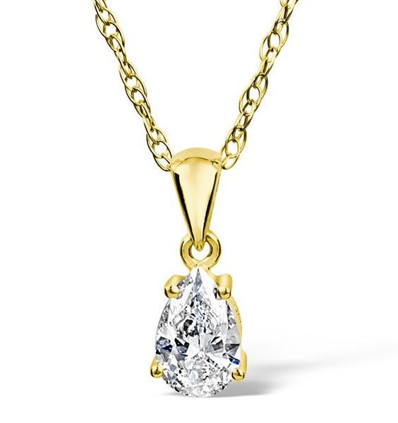 14 Karat Yellow Gold Tear Drop Shape Solitaire Pendant. Choose From 0.25 Carat To 5.00 Carat.