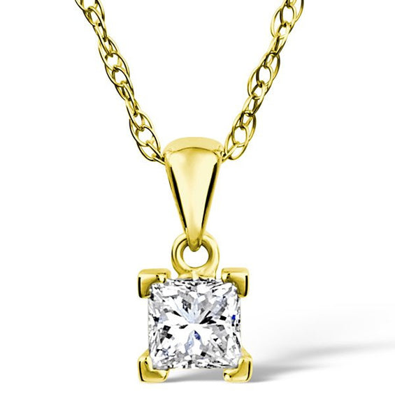 18 Karat Yellow Gold Princess Cut Solitaire Pendant. Choose From 0.25 Carat To 5.00 Carat.