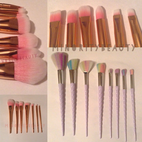 Rose Gold and Unicorn Makeup brushes